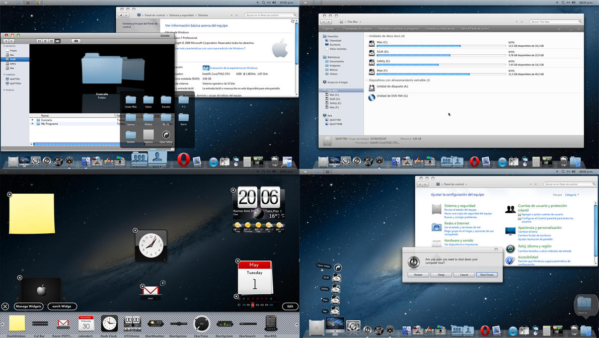 OS X Mountain Lion Theme in Windows 7 by vodooART