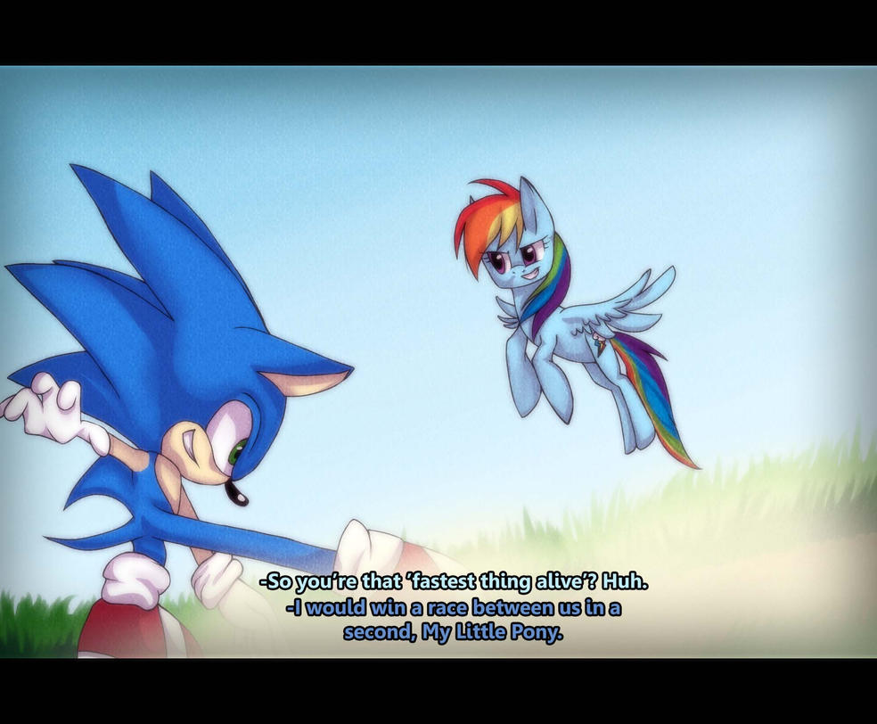 Sonic versus Rainbow Dash by ChaoticCookiez