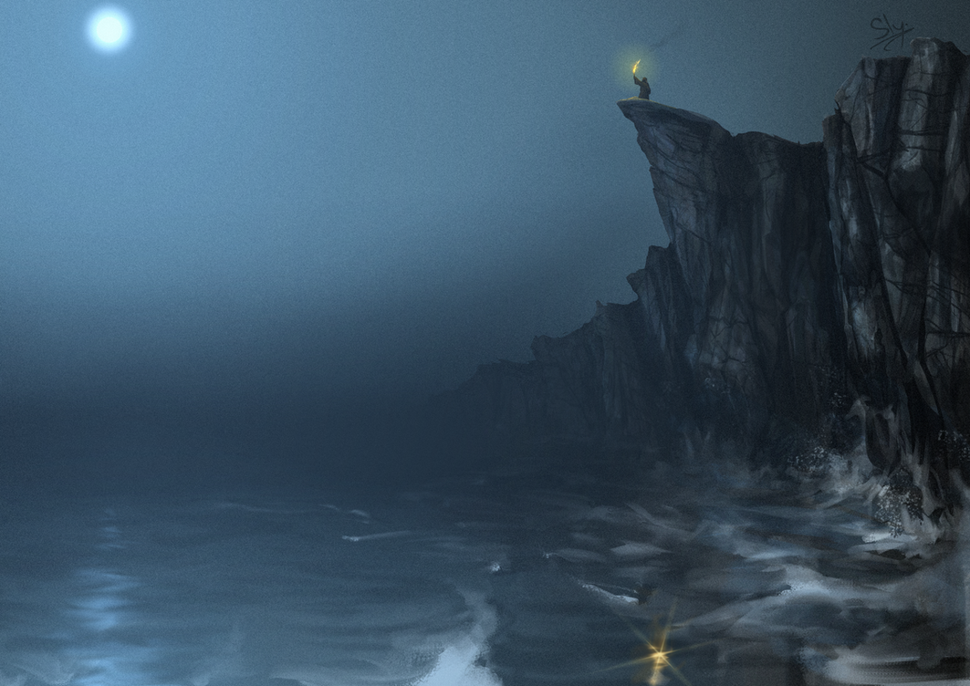The Wanderer on the Misty Cliffs at Night by Sly-Mk3