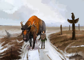Commission: Winter prairie by Brissinge