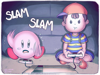 Ness and Kirby Playing Games by Skellytune