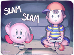 Ness and Kirby Playing Games