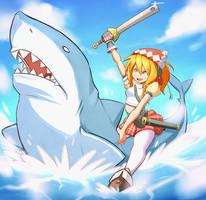 Landsknecht on a shark by Skellytune