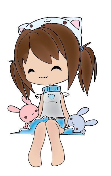 Chibi girl with Plush Bunnies by Cheshire--Katt