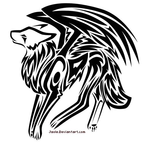 Winged wolf Tattoo by Jaole on DeviantArt