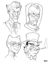 Bat Villains In Black and White by D-MAC