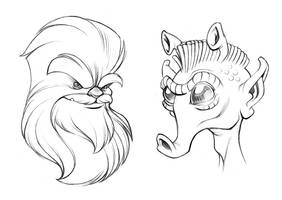 Wookie and Rodian Sketches by D-MAC