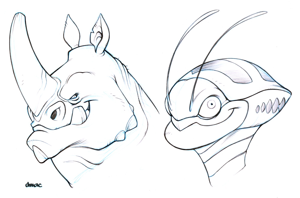 Head Sketches by D-MAC