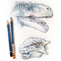 Allosaurus and Ankylosaurus by D-MAC