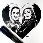 Inktober Day 29 - Gomez and Morticia Addams