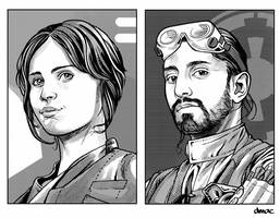 Jyn and Bodhi Retro RPG Art by D-MAC