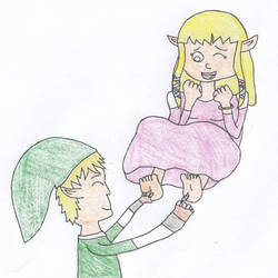 Link tickles Zelda by Old1995