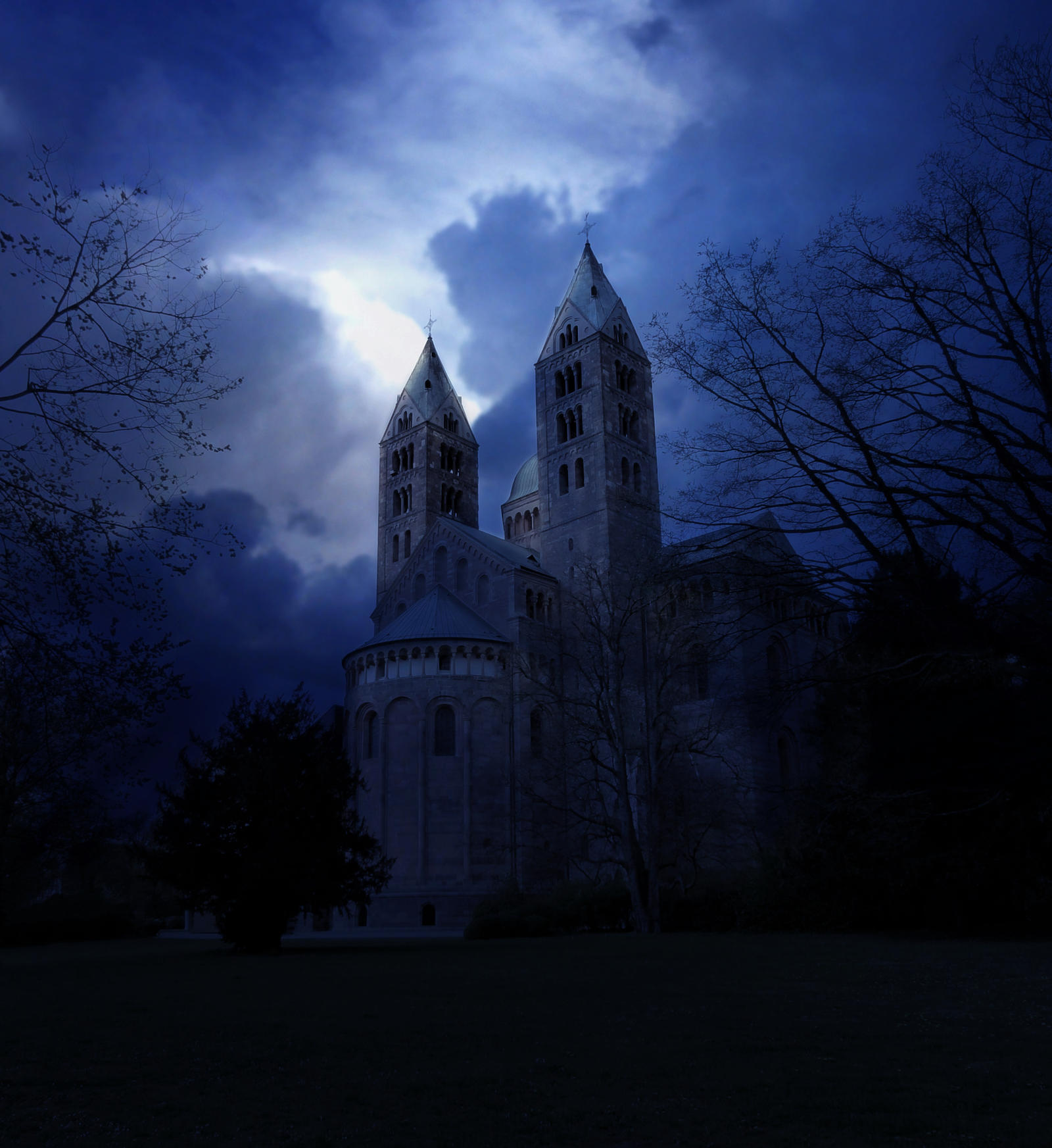 Premade Background :: Midnight Cathedral by Selunia