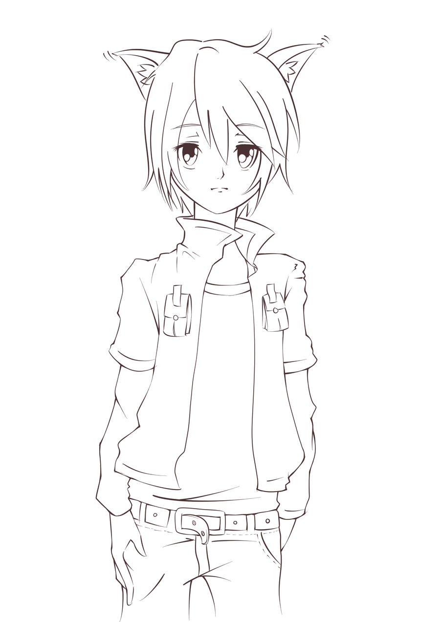 Lineart Anime Boy : Wolf boy lineart by lanichu on deviantart