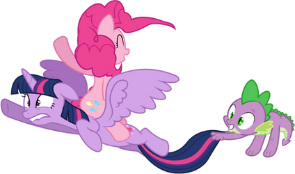 Vector 027: Twilight, Pinkie Pie and Spike flying by MPnoir