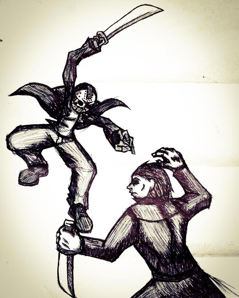 Jason Voorhees VS Michael Myers by 00akurei