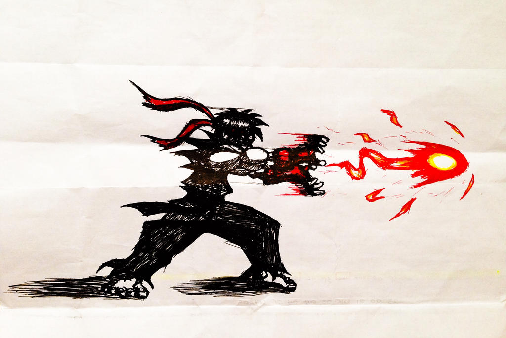 Evil Ryu Flame Hadouken by 00akurei