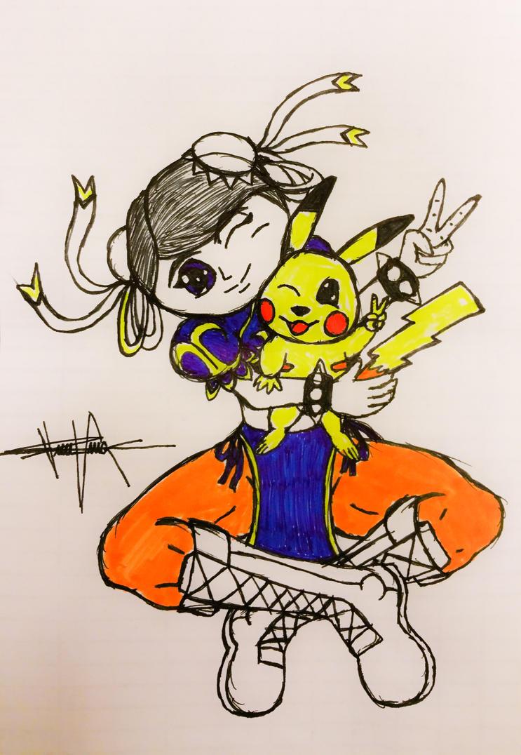 Chun Li and Pikachu by 00akurei