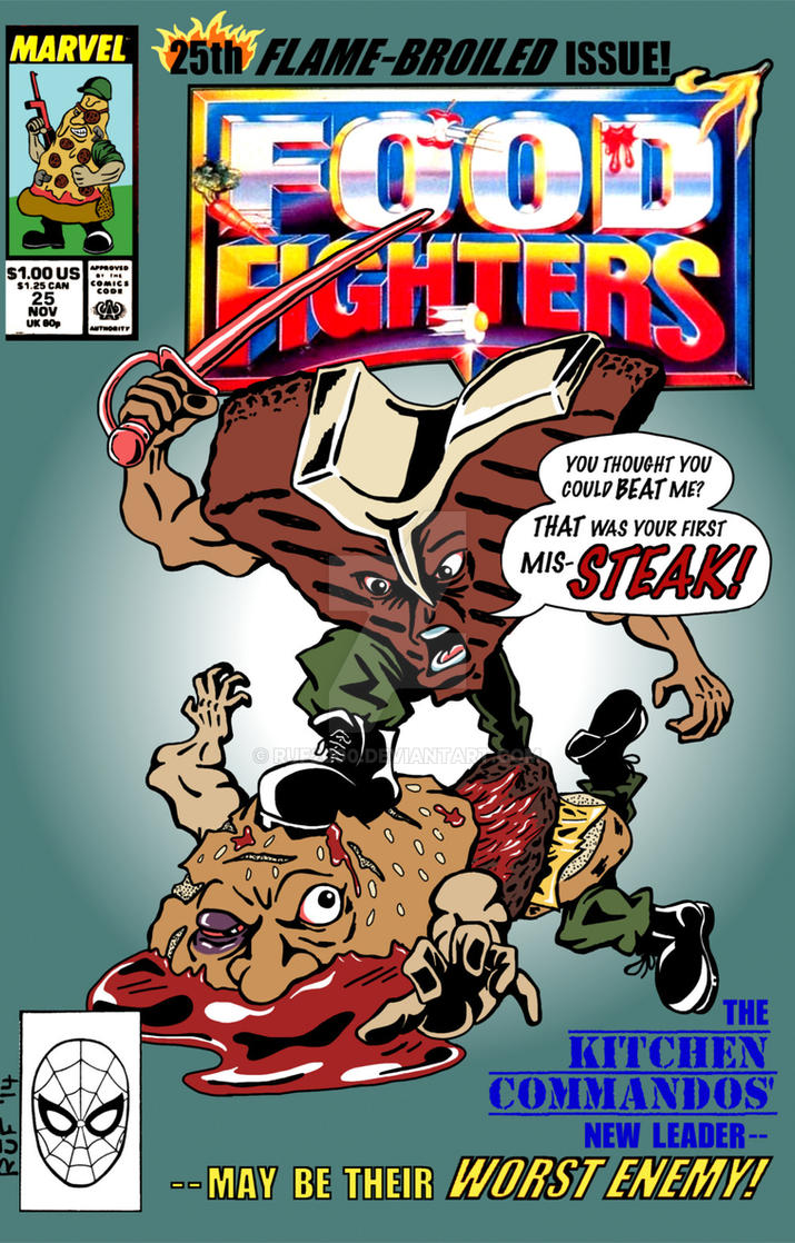 Food Book Cover Art : Food fighters issue comic book cover mock up by