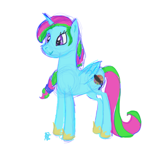 Quick doodle of my pony-sona, Paint Pallet! by Robinstar99