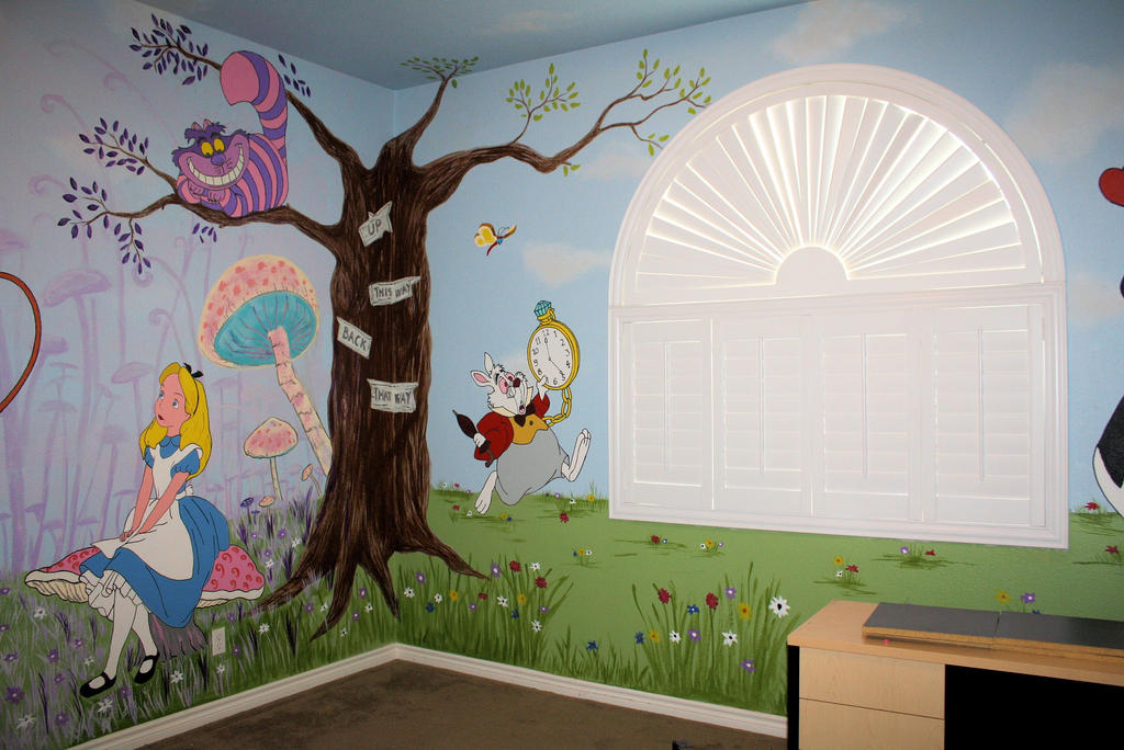 Alice in wonderland mural 2 by bessenyei on deviantart for Alice in wonderland wallpaper mural