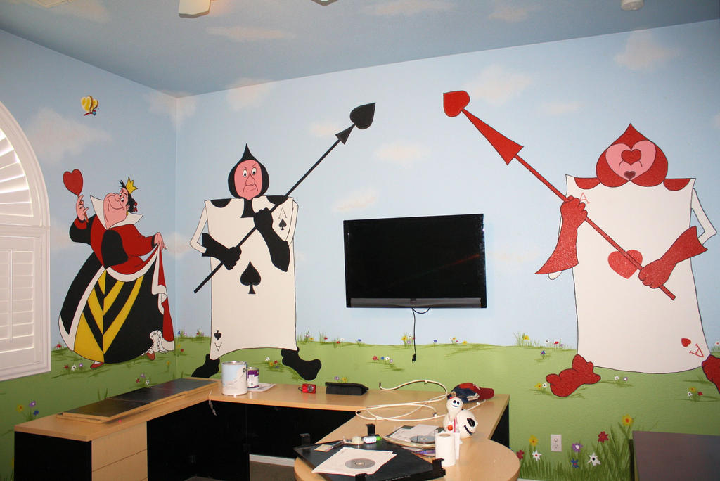 Alice in wonderland mural 3 by bessenyei on deviantart for Alice in wonderland mural