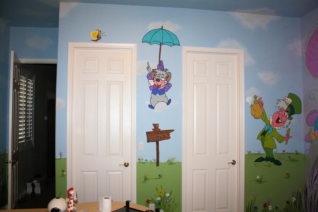Alice in wonderland mural 4 by bessenyei on deviantart for Alice in wonderland wallpaper mural