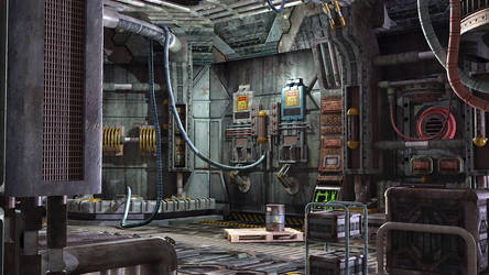 sci-fi interior of space ship by Siddhupol