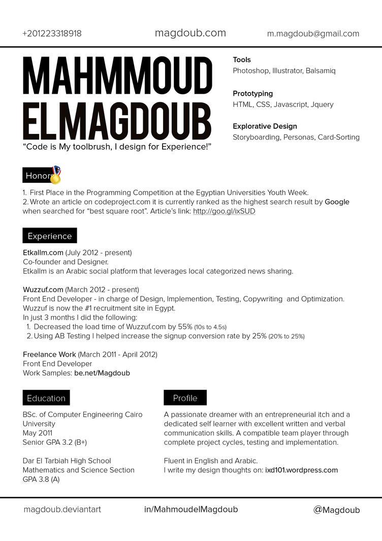 Mahmoud El Magdoub CV Layout v1 by Magdoub on DeviantArt