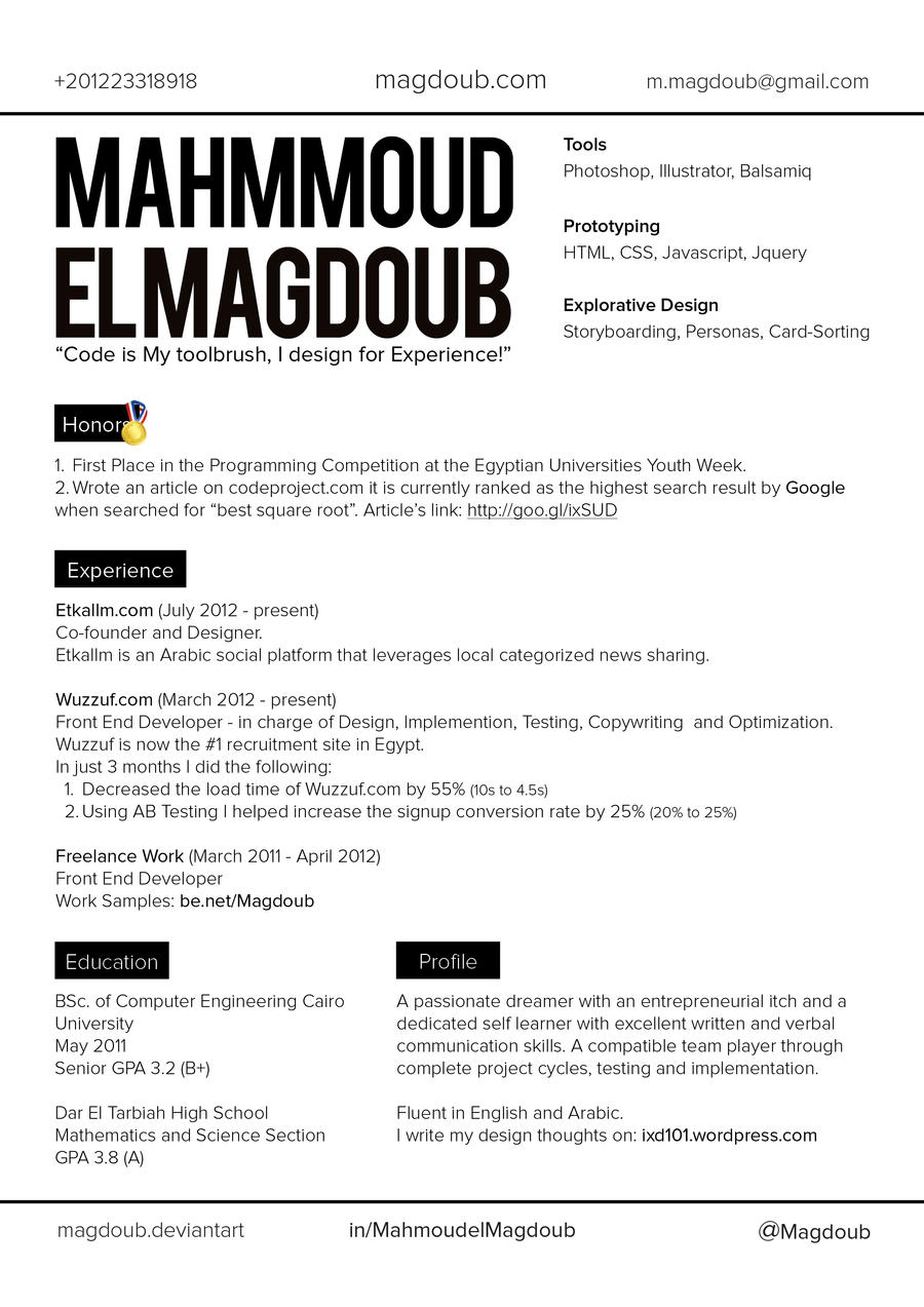 ... Mahmoud El Magdoub CV Layout V1 By Magdoub  Layout For A Resume