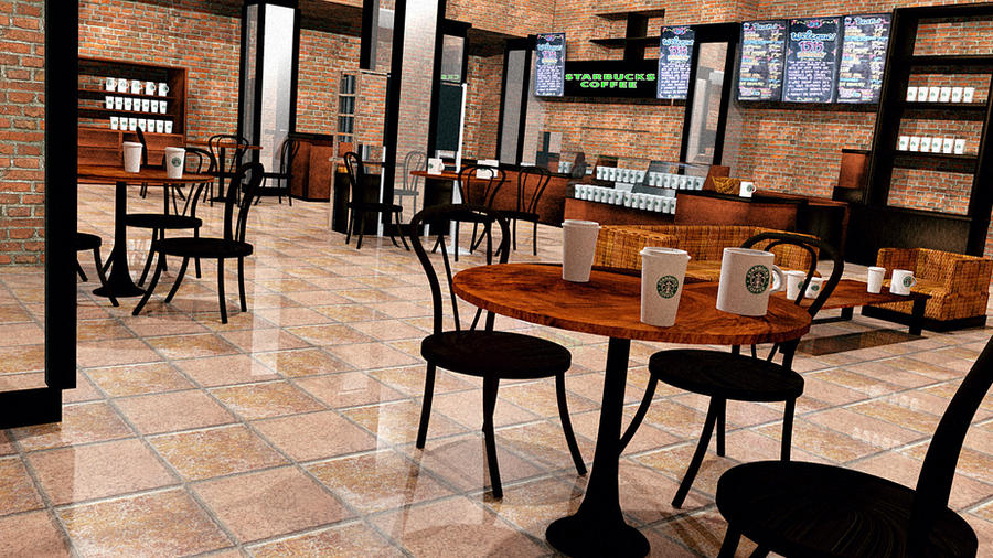 Starbucks Interior Design 3D By RomanianGuy ...
