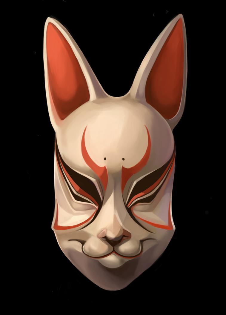 Kitsune Noh Mask by tiggytuppence