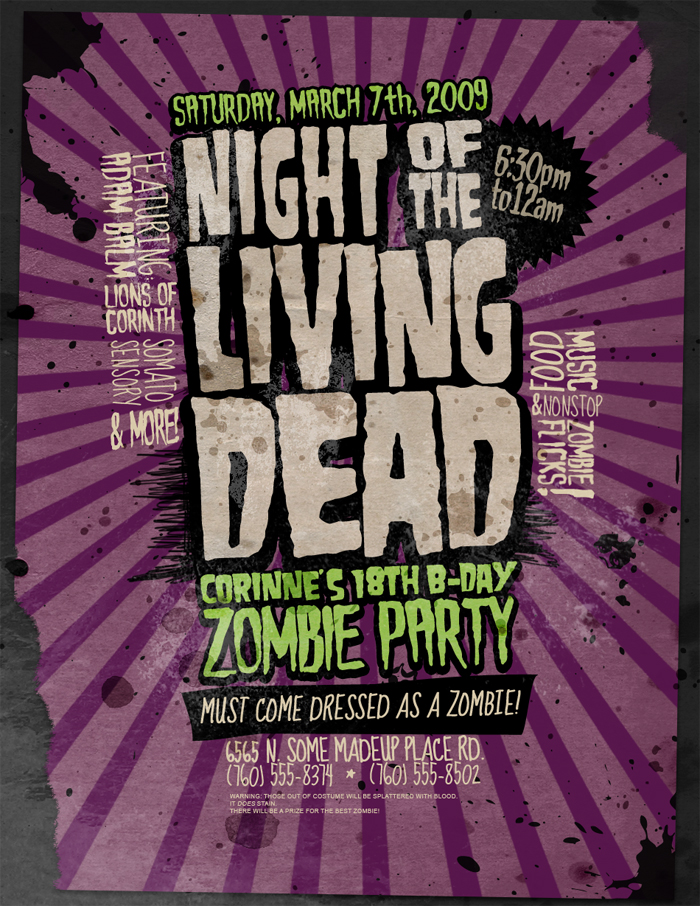 Flyer: Zombie Party by stuckwithpins on DeviantArt