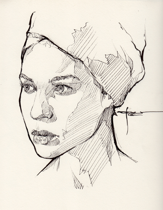 Line Drawing Portrait : Ink portrait by mekhz on deviantart
