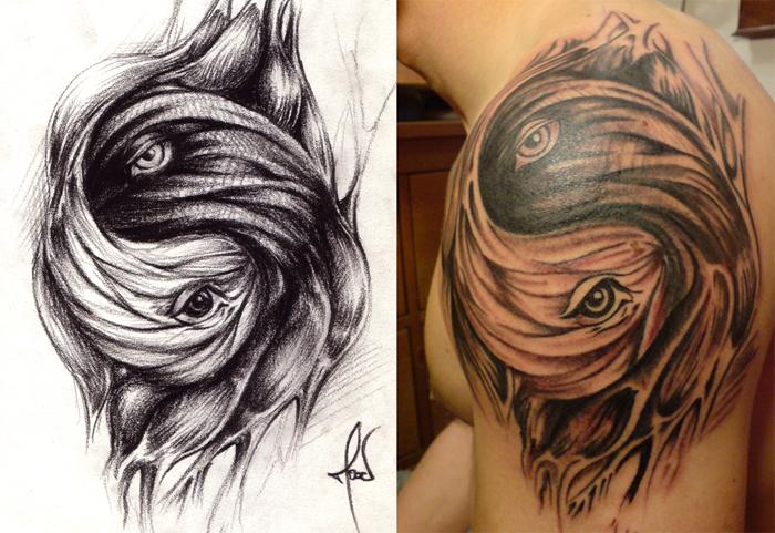 living yinyang tattoo - shoulder tattoo