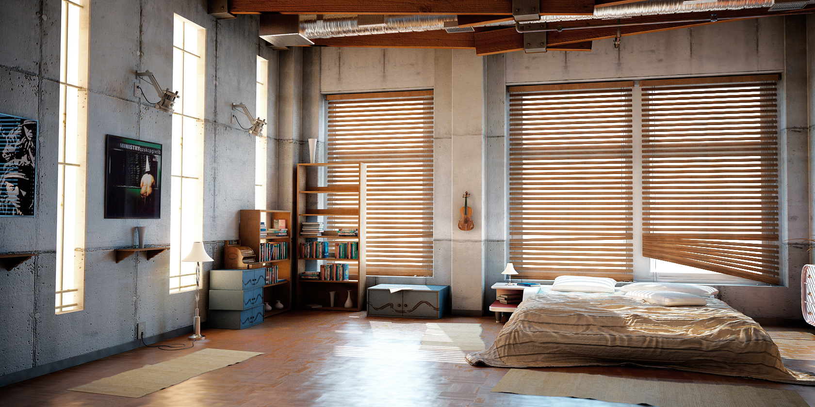 Industrial loft by denisvema on deviantart for Bedroom door ideas loft apartment