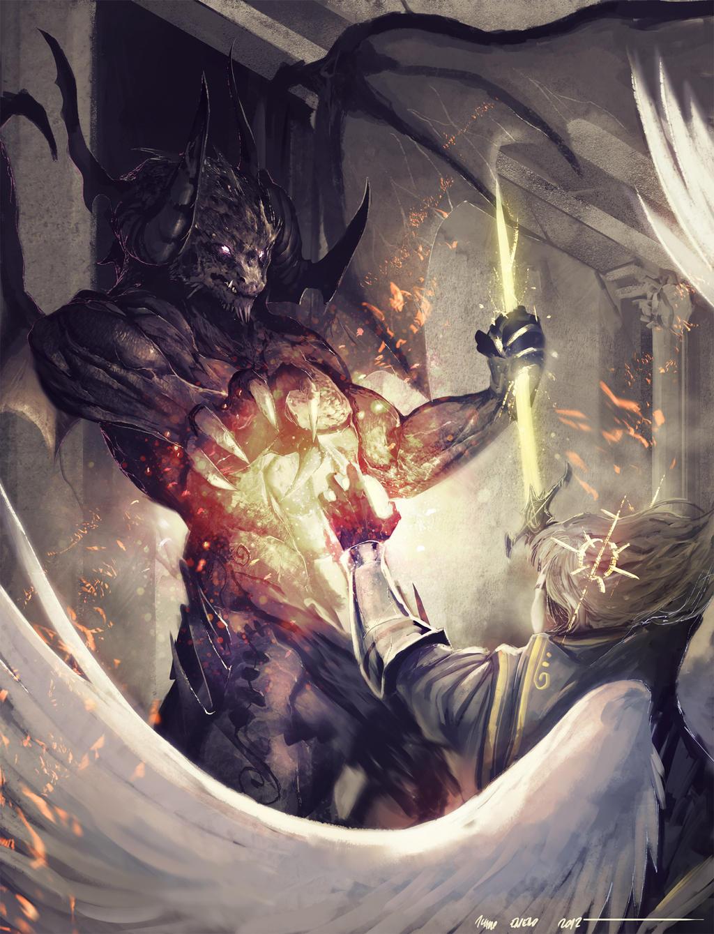 Философия в картинках - Страница 32 Demon_vs_celestial_by_tsrodriguez_d5sh9vl-fullview.jpg?token=eyJ0eXAiOiJKV1QiLCJhbGciOiJIUzI1NiJ9.eyJzdWIiOiJ1cm46YXBwOjdlMGQxODg5ODIyNjQzNzNhNWYwZDQxNWVhMGQyNmUwIiwiaXNzIjoidXJuOmFwcDo3ZTBkMTg4OTgyMjY0MzczYTVmMGQ0MTVlYTBkMjZlMCIsIm9iaiI6W1t7ImhlaWdodCI6Ijw9MTMzOSIsInBhdGgiOiJcL2ZcLzhkMmQ4NmVmLWRlNDctNGUyOC1hNDUzLWMwM2UwZDYyZWM5YlwvZDVzaDl2bC1kNmVhNDQzNS0xMDA4LTQ4MzEtODgxOS04YmI4MDVkZWE3YzguanBnIiwid2lkdGgiOiI8PTEwMjQifV1dLCJhdWQiOlsidXJuOnNlcnZpY2U6aW1hZ2Uub3BlcmF0aW9ucyJdfQ