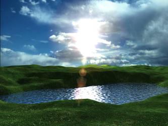 Blue-Lake Sun by lwd-rdl