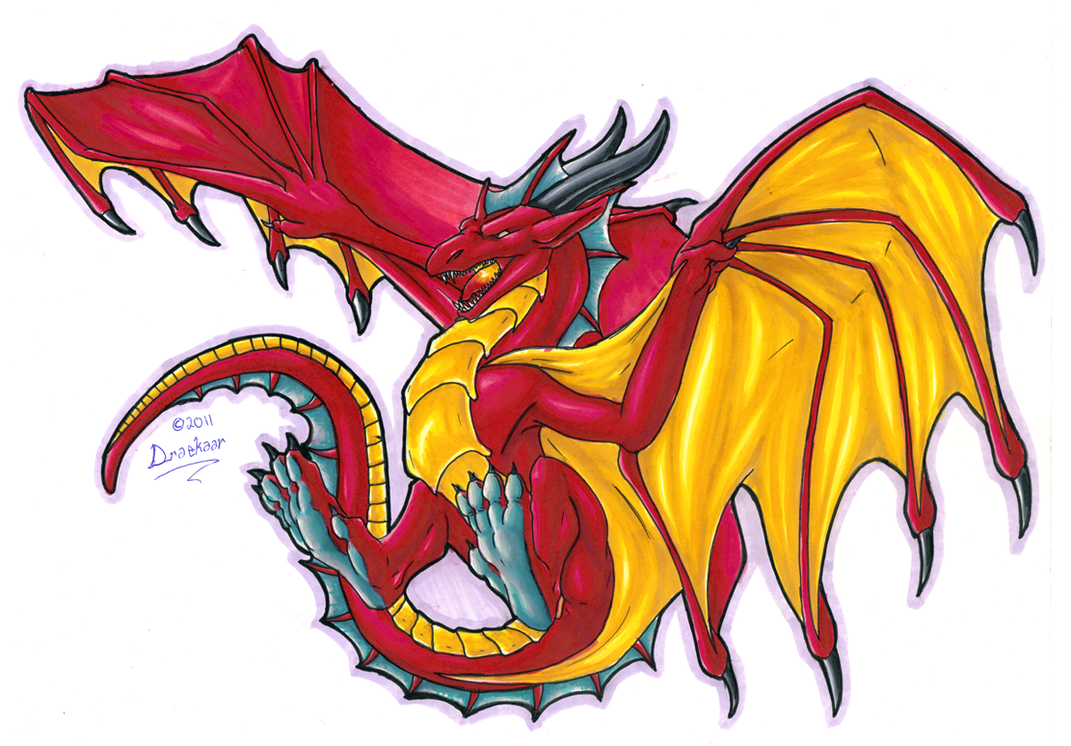 dragon print 2 colour by draconigenae666