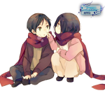 Eren and Mikasa (Shingeki no Kyojin) Render