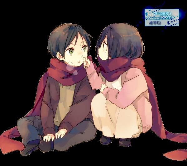 Eren and Mikasa (Shingeki no Kyojin) Render by Ani07