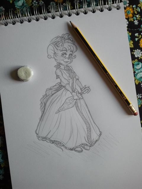 TGMD - Birdie's formal dress sketch by Yaraffinity
