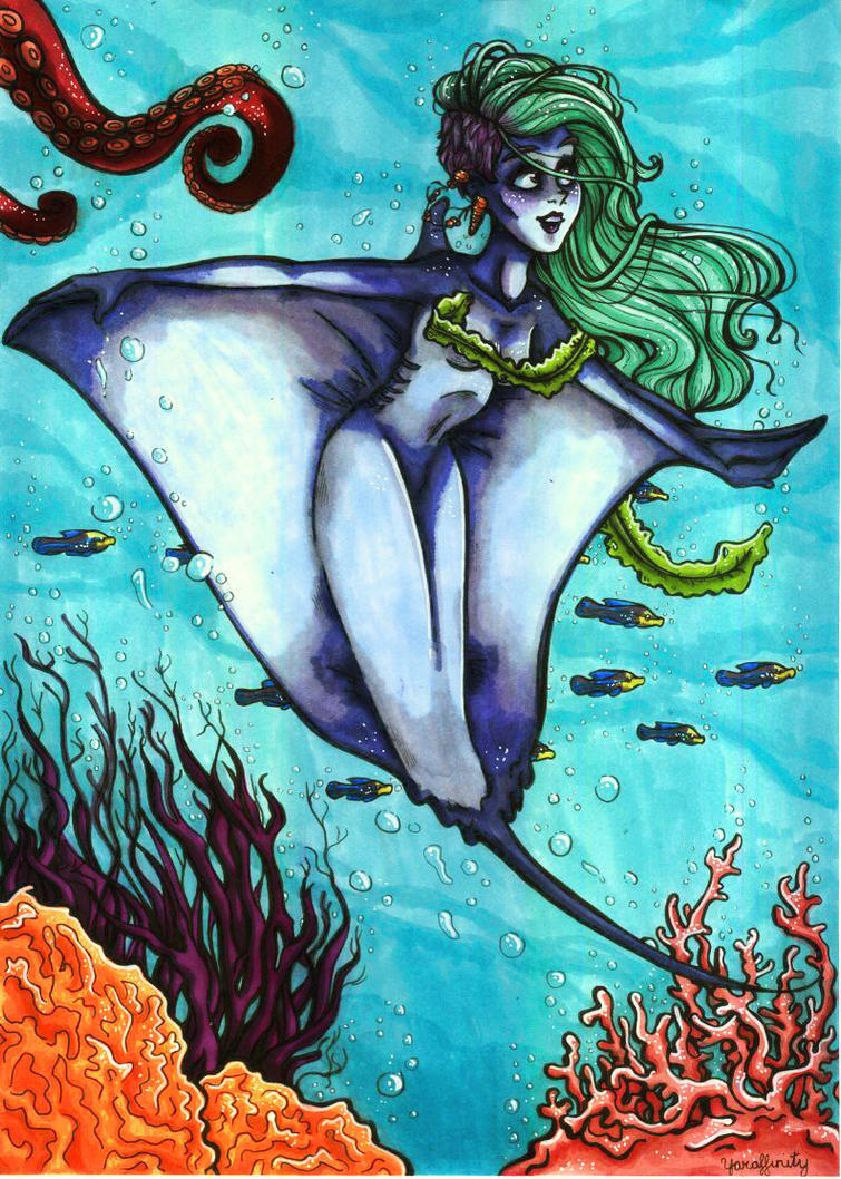 Manta Ray Mermaid by Yaraffinity