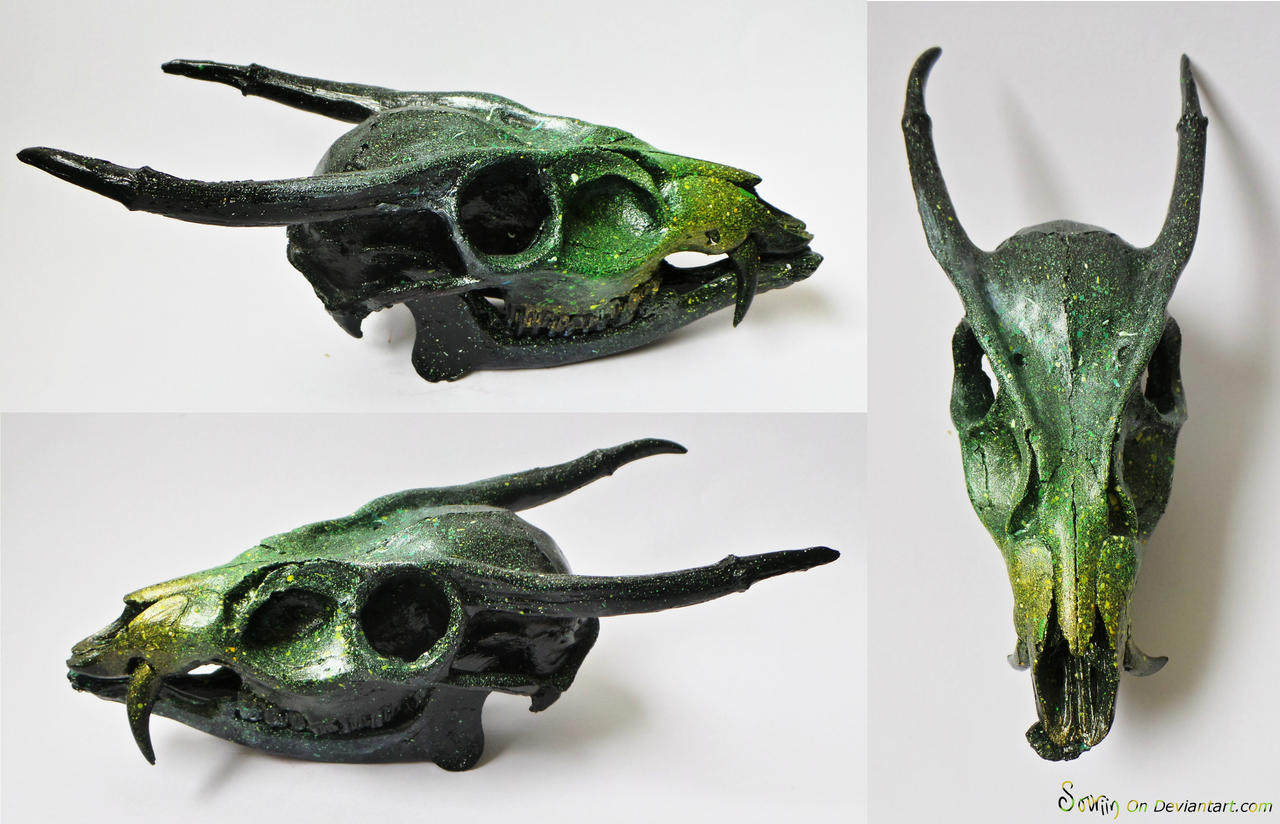 Green Galaxy Dragon Skull SOLD by Sovriin