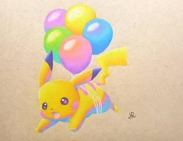 Balloon Pikachu by JennyyLovee
