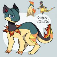 Pokemon Quilava + Heliolisk Fusion by Russetfur-AC