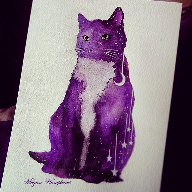 Purple Galaxy Cat by stardust12345