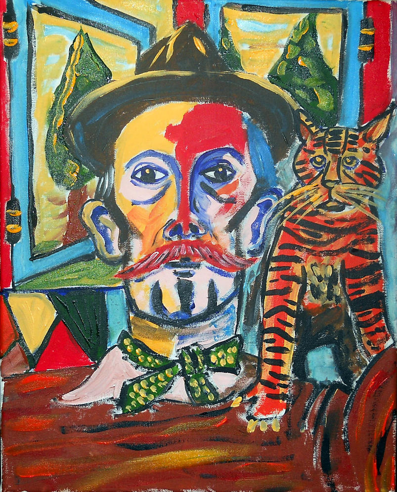 Billy Childish With Cat by JohnAlexandrePipere