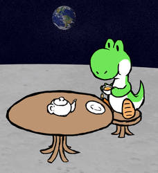 Yoshi drinking tea on the Moon