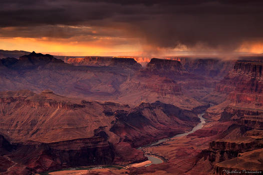 A storm at sunset